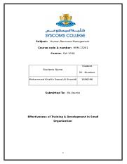 Human Resource Management - Assignement (1).doc