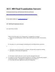 ACC 400 Final Examination Answers