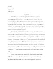 bureaucracy essay soc mildret vazquez soc dr maxson  6 pages bureaucracy paper soc 102