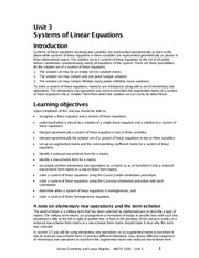 Unit 3 Systems of Linear Equations