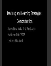 Teaching and Learning Strategies 2015