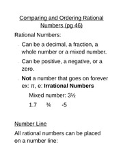 Lesson 1 - Rational Numbers