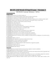 BUSN 258 Week 8 Final Exam - Version 1.docx