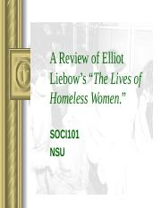 A Review of Elliot Liebow's Lives of Homeless Women.ppt