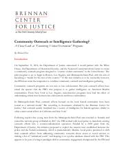 Brennan Center for Justice - 2015 - Community Outreach or Intelligence Gathering- A Closer Look at '
