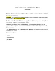 Resume & Business Letter Assignment2015