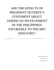Are the effects of President Duterte