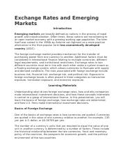 Exchange Rates and Emerging Markets.docx