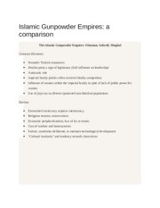Comparison of Gunpowder Empires NOtes