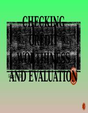 Checking Credit Worthiness and Evaluation