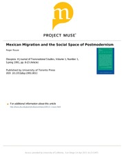 Rouse Mexican Migration and social space of postmodernism