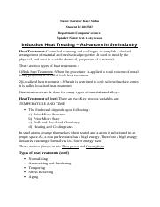 Induction Heat Treating assignment