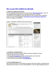 How to get SAP certified via self study Notes