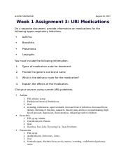 Week 1 Assignment 3 URI Medications.docx