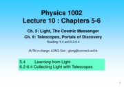 Lecture 10 Telescopes, Portals of Discovery