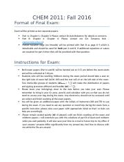 Format of Final Exam