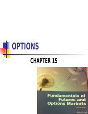 FE445 - Chapter 15 - Options Market