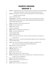 RADYO DRAMA script docx - RADYO DRAMA GROUP 1 1 2 3 4