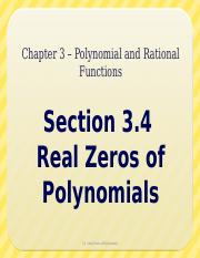 3.4 - Real Zeros of Polynomials