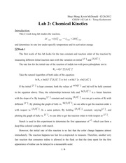 Chemistry Lab 2 Chemical Kinetics Report