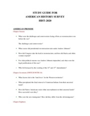 STUDY GUIDE FOR HIST 2020