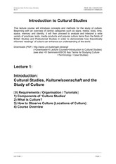 Introduction to Cultural Studies - Lecture 1