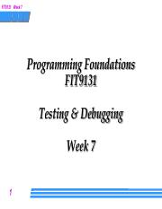 Week 7 Lecture - testing and debugging