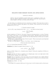 Math 294_Lecture Notes on Negative Norm Sobolev Spaces and Applications