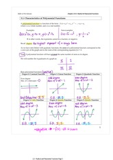 3.1 Characteristics of Polynomial Functions