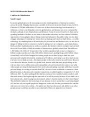 SOCI 1301 DB 1 Conflicts of Globalization Sarah Cooper.docx