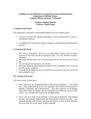 Guidelines for the Preliminary Examination in International Relations
