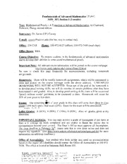 3450 307 : Fundamentals of Advanced Mathematics - University of