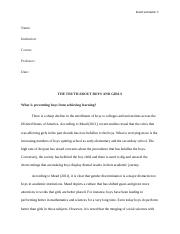 The Truth about boys and Girls- Assignment