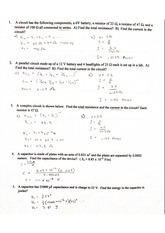 Electricity Physics II AP Practice Exam