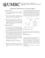 10 - Preparation & Properties of a Gaseous Alkene