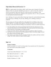 Operations Research Exercise 1.3 - With Answers