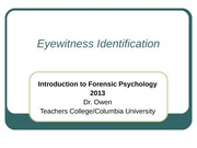 Lecture 4 Eyewitness Identification