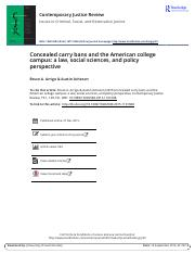 Concealed carry bans and the American college campus a law social sciences and policy perspective.pd