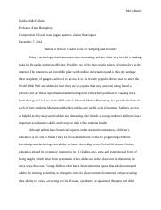 Final paper (local issue, argue against a claim)
