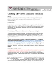 ES Crafting a Powerful Executive Summary