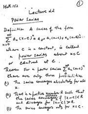 lecture 22 (Power Series)