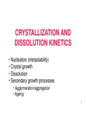 Lecture 2 Crystallization kinetics