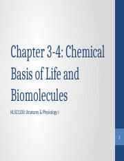 Ch  3-4 Chemical basis of life