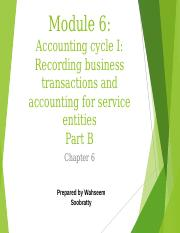 Module 6 - Accounting cycle 1 - recording business transactions and accounting for service entities