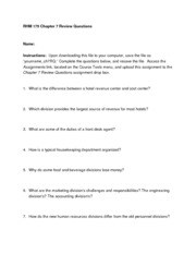 RHM 175 Chapter 7 Review Questions