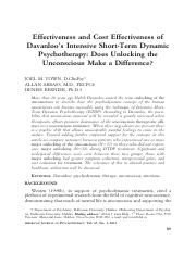 Effectiveness and Cost Effectiveness of Davanloo's Intensive Short-Term Dynamic Psychotherapy
