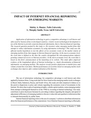 IMPACT OF INTERNET FINANCIAL REPORTING-(Hunter et al, 2009)