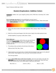 Additivecolorsse Ronkerria Griffin Name Ronkerria Griffin Date Student Exploration Additive Colors Vocabulary Additive Color Cyan Magenta Primary Course Hero