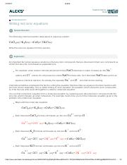 Writing net ionic equations - ALEKS Student Name April Tobergte Date