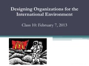 SMO 321 Class 10 - International environment